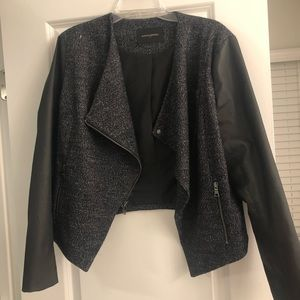 Banana Republic Faux Leather and Tweed Jacket